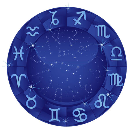 horoscope: Blue zodiacal circle with zodiac sign Illustration