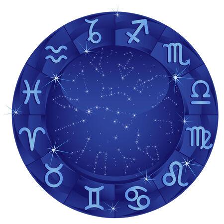 horoscopo libra: C�rculo zodiacal azul con el signo zodiacal Vectores
