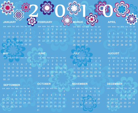 Calendar 2010 on the blue background