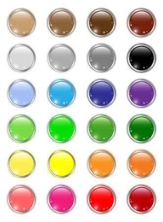 Set of glossy colored circle buttons Illustration