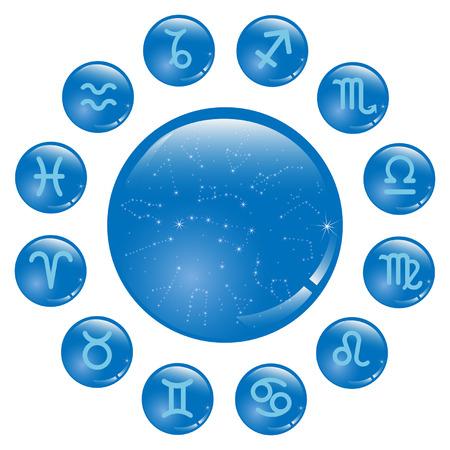 signes du zodiaque: Signes du zodiaque dans les cercles bleus Illustration
