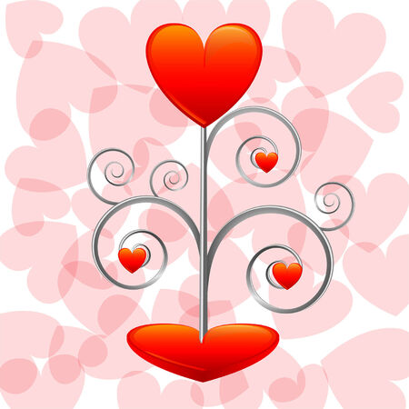 Love tree on the pink background Illustration