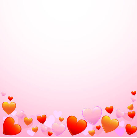 Background with red, pink and yellow hearts Stock Vector - 6264033