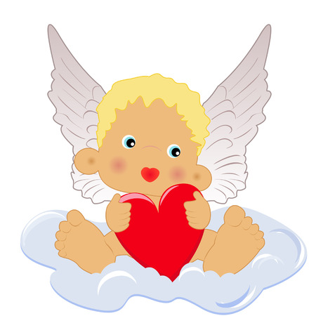 Angel with heart sitting on the cloud Vector