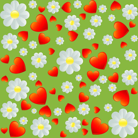 seamless wallpaper with heart and flower pattern