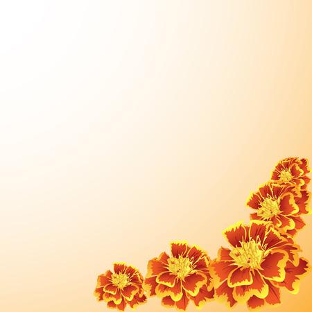 cempasuchil: marco con el patr�n de cal�ndula naranja  Vectores