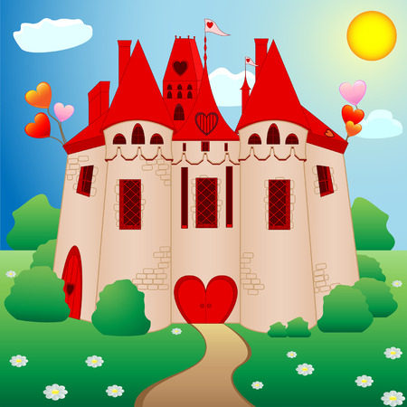 Fairy tale princess castle with red roofs Vector