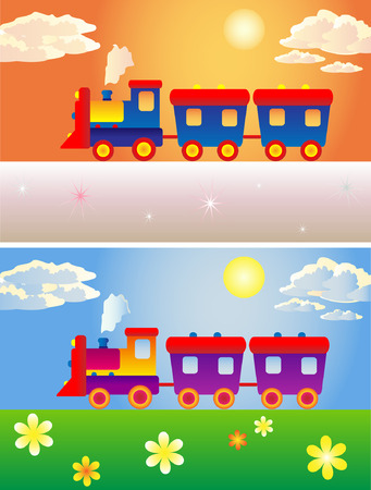 two toy trains winter and summer Illustration