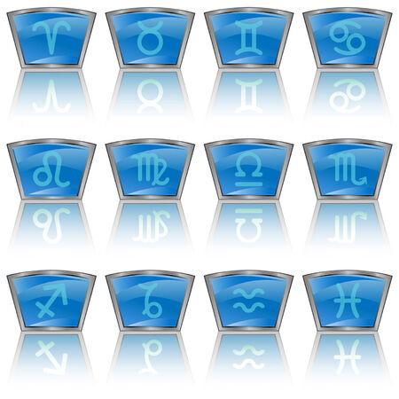 Zodiac astrology signs button set Vector