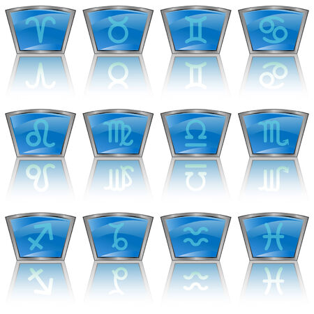 Zodiac astrology signs button set