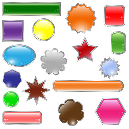 Set of glossy colored  buttons Illustration