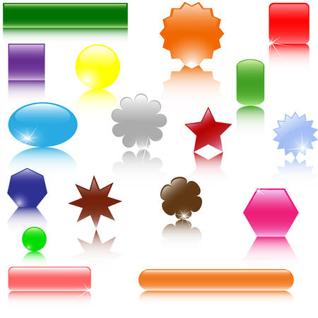Set of different glossy web elements Stock Vector - 6342967