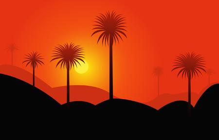 palmtrees: Puesta de sol rojo en el desierto con palmtrees
