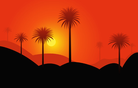 Red sunset in desert with palmtrees Illustration