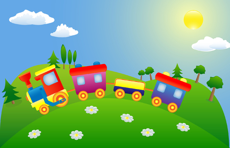 Colored toy train on the green mountain