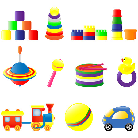 Set of different colored toys 일러스트