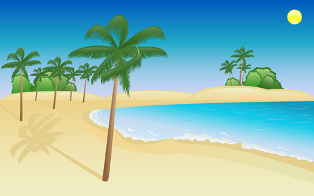 Summer scene with palms on the sea beach