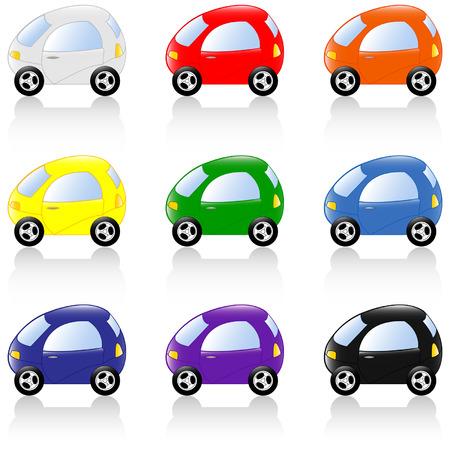 Set of colored toy cars