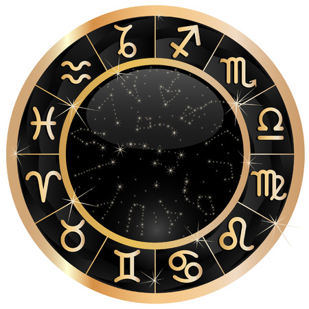 Gold zodiacal circle with zodiac sign 일러스트