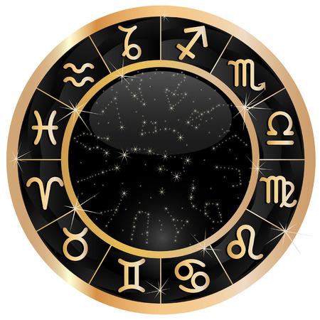 Gouden zodiakaal cirkel met sterrenbeeld Vector Illustratie