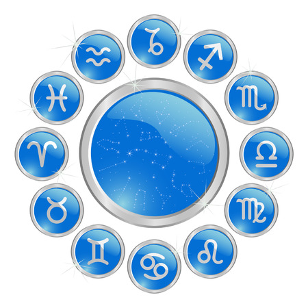 Blue glossy zodiac astrology signs button