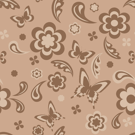 Seamless wallpaper with flowers and butterflies