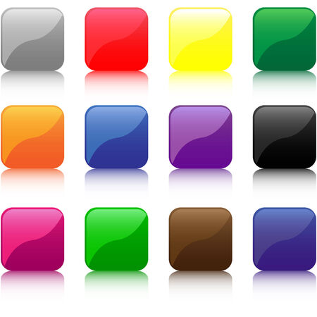 Set of different colored buttons