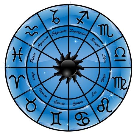 Blauwe zodiakaal cirkel met sterrenbeelden