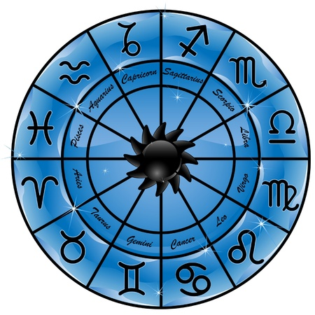 zodiac signs:  Blue zodiacal circle with zodiac signs