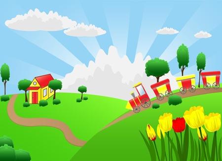 yellow hills: Cartoon train running home