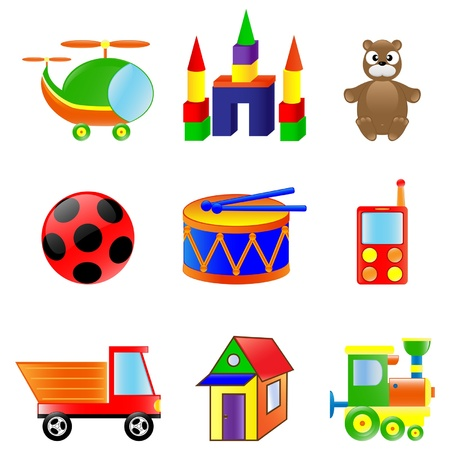 Set of different colored toys.