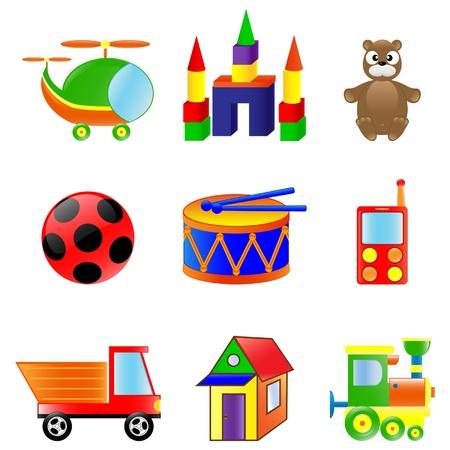 Conjunto de juguetes de colores diferentes.