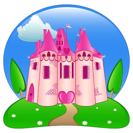 Magic pink castle for princess Vector
