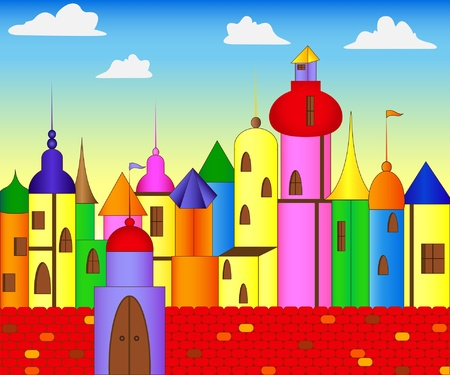 Fairytale colored castle Stock Vector - 10552608