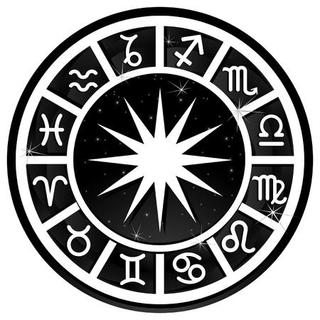 signes du zodiaque: Noir et blanc cercle zodiacal avec signe du zodiaque