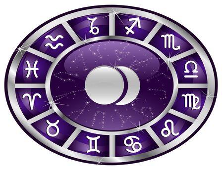 Violet zodiacal oval with zodiac sign. Illustration