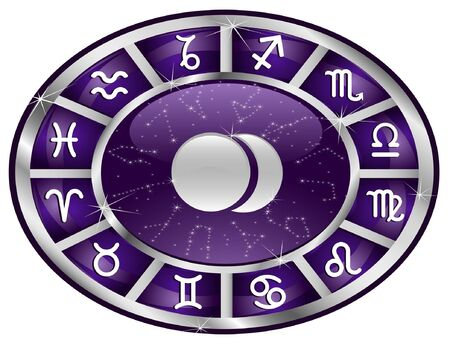 Violet zodiacal oval with zodiac sign. Vector
