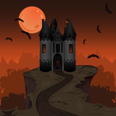 Halloween landscape with dark castle