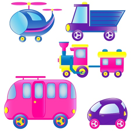 Set of different colored toys Illustration