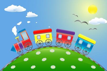 vogelspuren: Spielzeugeisenbahn, die auf dem Berg Illustration