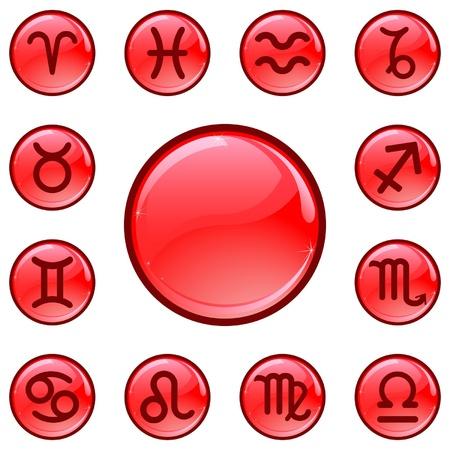 signes du zodiaque: Glossy boutons rouges avec signes du zodiaque