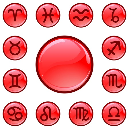 Glossy red buttons with zodiacal signs