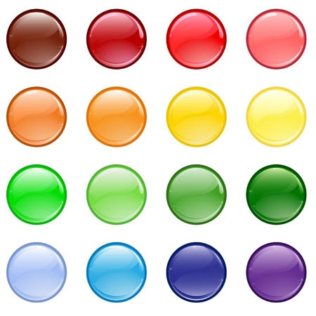 rectangle button: Set of different colored buttons