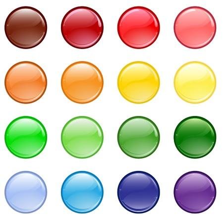 knop: Set van verschillende gekleurde knoppen Stock Illustratie