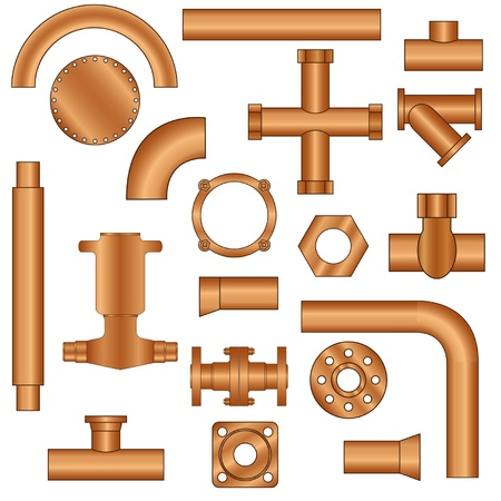 Set of pipes and fittings Stock Vector - 13860088