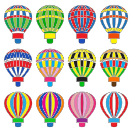 colored balloons: Set of colored isolated hot baloons Illustration
