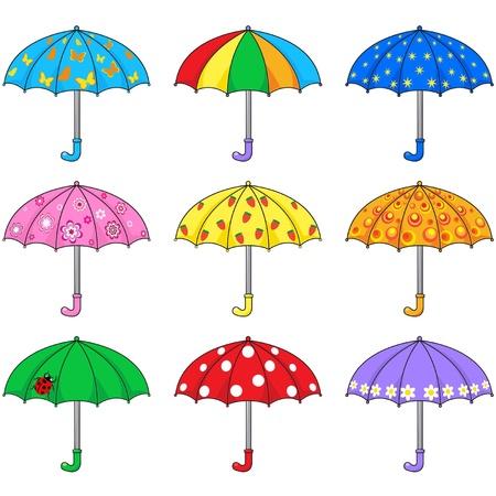lluvia paraguas: Conjunto de paraguas de colores Vectores