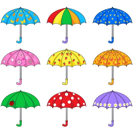 star cartoon: Set of colored umbrellas