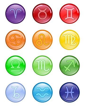 zodiacal: Glossy colored buttons with zodiacal signs Illustration