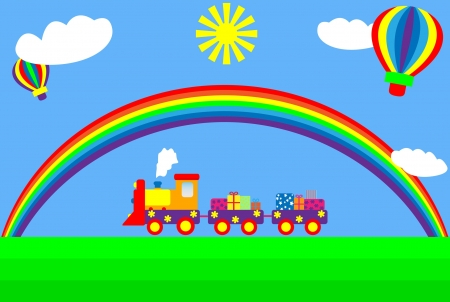 Child's drawing of train with rainbow Vector